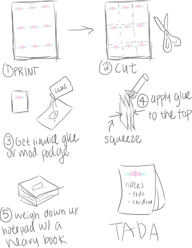 Floral Princes DIY note pad Printable