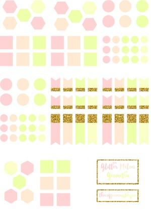 Glitter Melon Geometric (DIY sticker books)