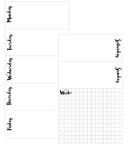 Personal Sized Weekly Planner Inserts PRINTABLE