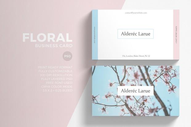 Minimal floral business card template eightonesix shop minimal floral business card template accmission Choice Image