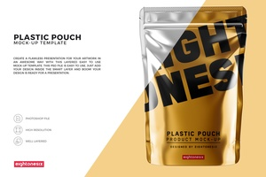 Glossy Plastic Pouch Mock-up Template