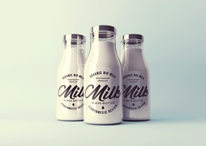 Realistic Milk Bottle Mock-Up Template