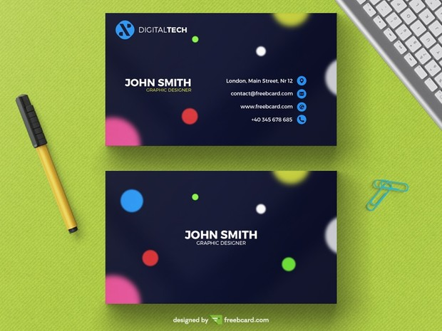Business card with blurred circles