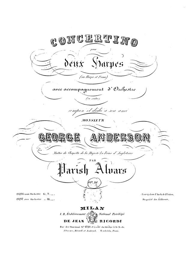 Elias Parish Alvars: Concertino in D Minor for two harps