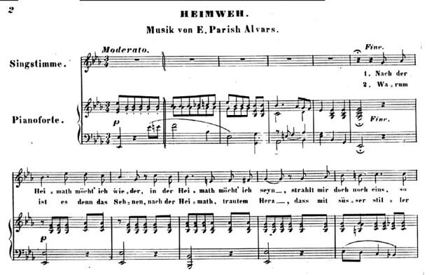 Parish Alvars: Heimweh, Romance for voice and piano