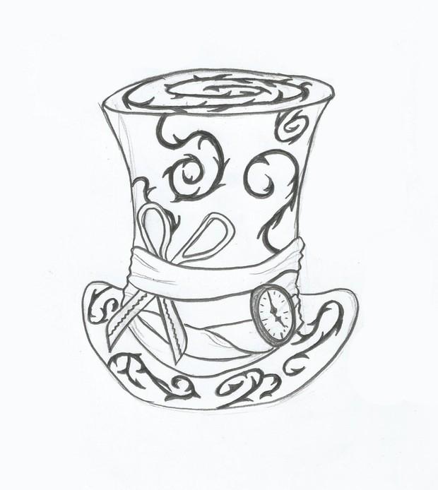 a5be277cbb7 Mad Hatter Hat Hand Drawn Sketch Illustration Smart Ob - Paris Chick ...