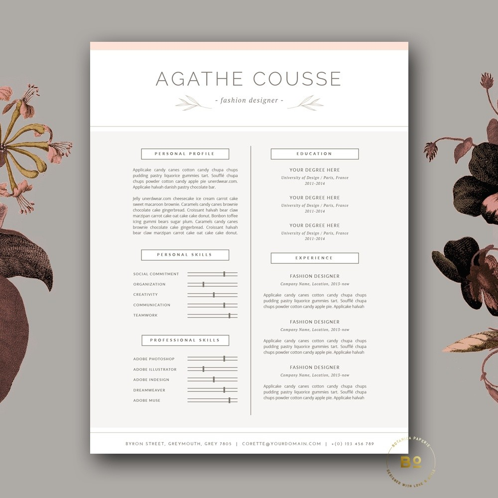 Clean and Feminine Resume Template and Cover Letter for MS Word and iWork  Pages