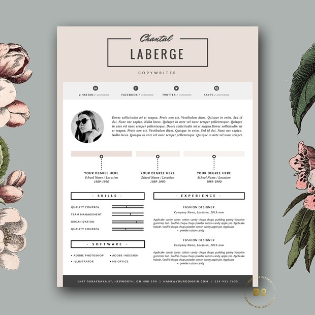 Stylish resume design modern cv template free cove stylish resume design modern cv template free cover letter for ms word and iwork yelopaper Gallery