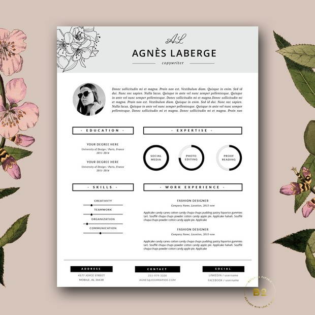 Chic Resume Design and FREE Cover Letter Template for MS Word and iWork  Pages