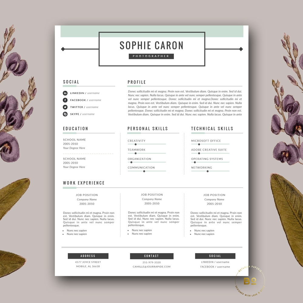 Hipster Resume Template 3 Page And Free Cover