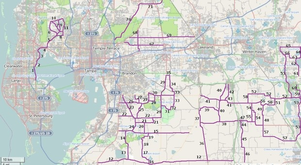 Riding Roads Map 2 in West Central Florida