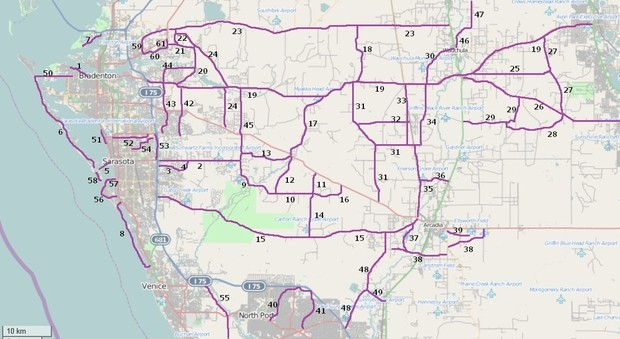 Riding Roads Map 1 in West Central Florida