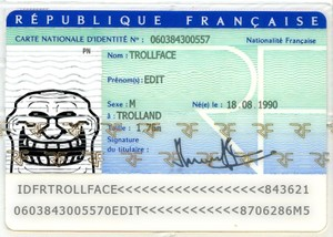French ID Card Trollface PSD
