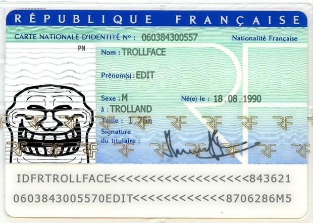 French ID Card Trollface PSD