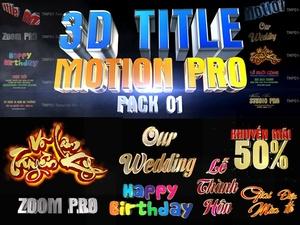 Blufftitler Pack: 3D Title Motion PRO