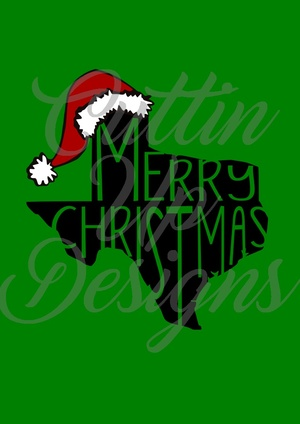 Merry Christmas Texas with Santa Hat SVG Cut File. Easy cut and layer. Other states available.