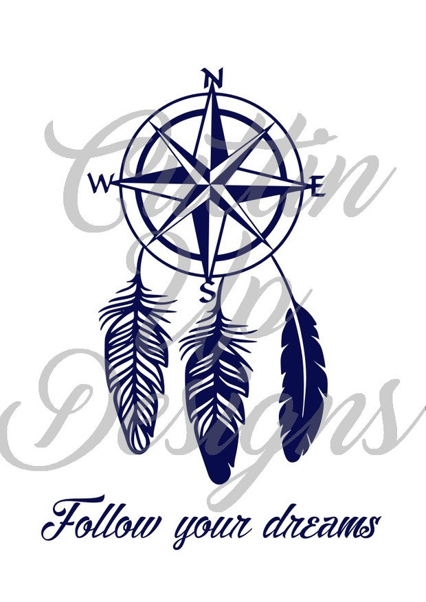 Follow Your Dreams Compass with feathers Dreamcatcher SVG Cut File for Cricut or Cameo