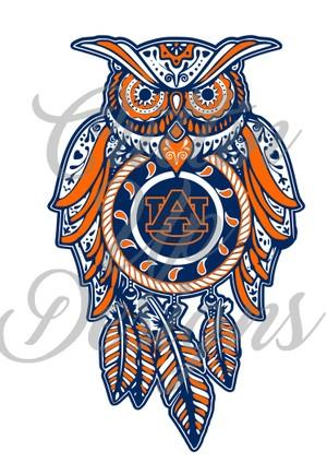 Auburn University Sugar Skull Dreamcatcher Owl SVG Cut File.  VERY easy cut and layer.