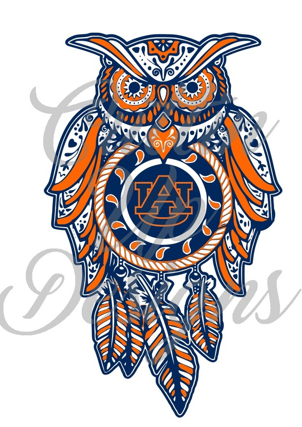 Auburn University Sugar Skull Dreamcatcher Owl SVG Cut File.  VERY easy cut and layer.