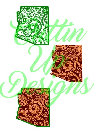 Arizona Paisley Patterned States One color and Layered SVG for Cricut or Cameo