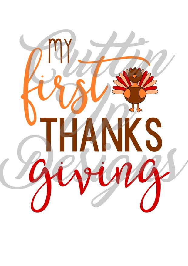My 1st First Thanksgiving SVG Cut File. Cute holiday shirt idea with easy cut and layer turkey