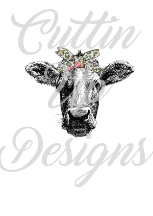 Cow head with cheetah floral bandana PNG FILE
