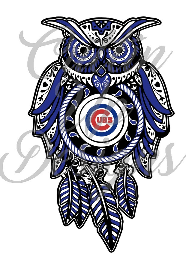 Chicago Cubs Sugar Skull Dreamcatcher Owl SVG Cut File.  VERY easy cut and layer.