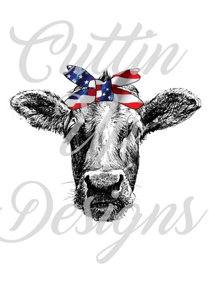 Cow head with American Flag Bandana PNG FILE ONLY