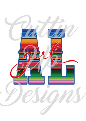 Alabama Girl Serape PNG file clip art.  Great for sublimation