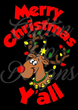 Merry Christmas Y'all Reindeer with Lights on Antlers. Great Shirt idea. SVG Cut File. Easy cut