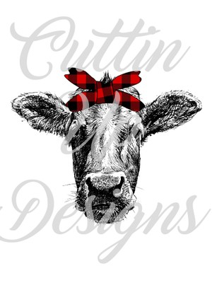 Cow head with buffalo plaid bandana PNG FILE ONLY