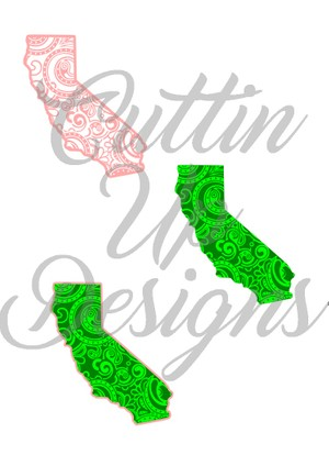 California Paisley Patterned States One color and Layered SVG for Cricut or Cameo