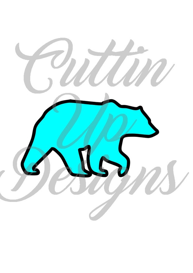 Bear Silhouette for Fabric with HTV outline. SVG Cut File.  Great pattern to start with.