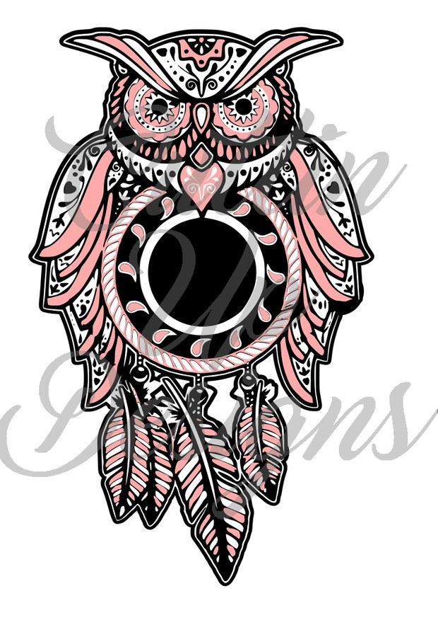 Blank Sugar Skull Dreamcatcher Owl for customization SVG Cut File.  VERY easy cut and layer.
