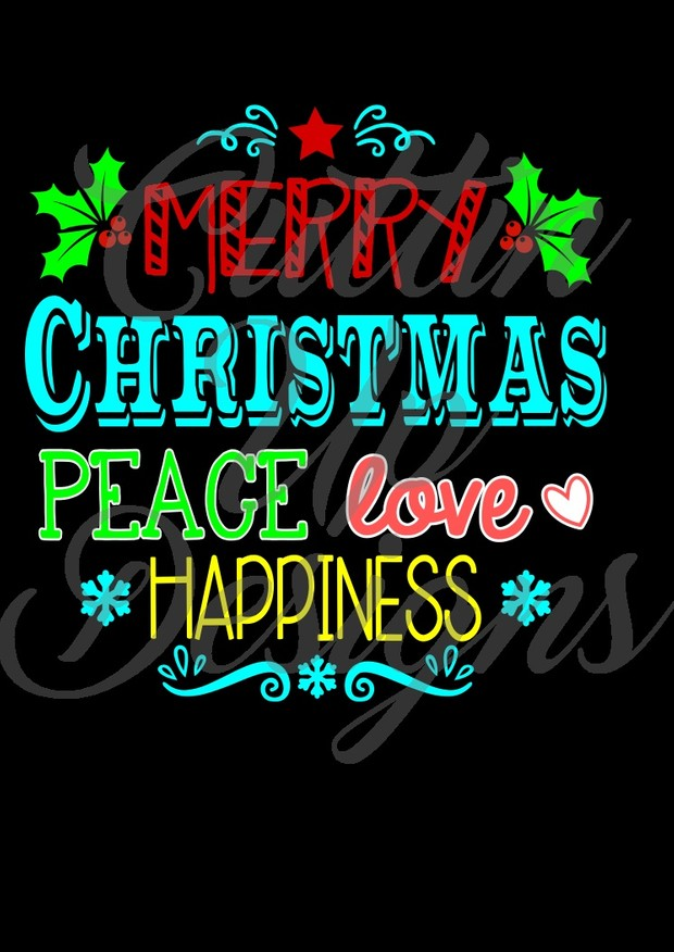 Merry Christmas Peace Love Happiness Holiday SVG Cutting File for Cricut or Cameo