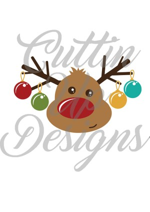 Cute Reindeer with Christmas ornaments on antlers SVG file. Great for shirt or mug