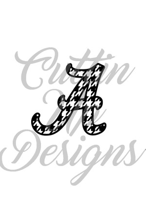 Alabama A Houndstooth SVG Cutting File for Cricut or Cameo. Easy cut and layer