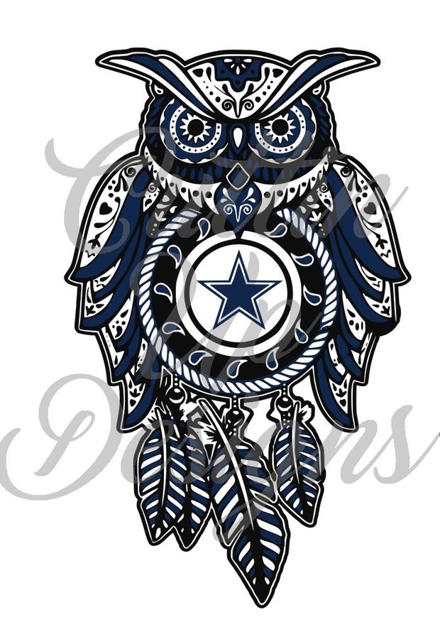Dallas Cowboys Sugar Skull Dreamcatcher Owl SVG Cut File.  VERY easy cut and layer.
