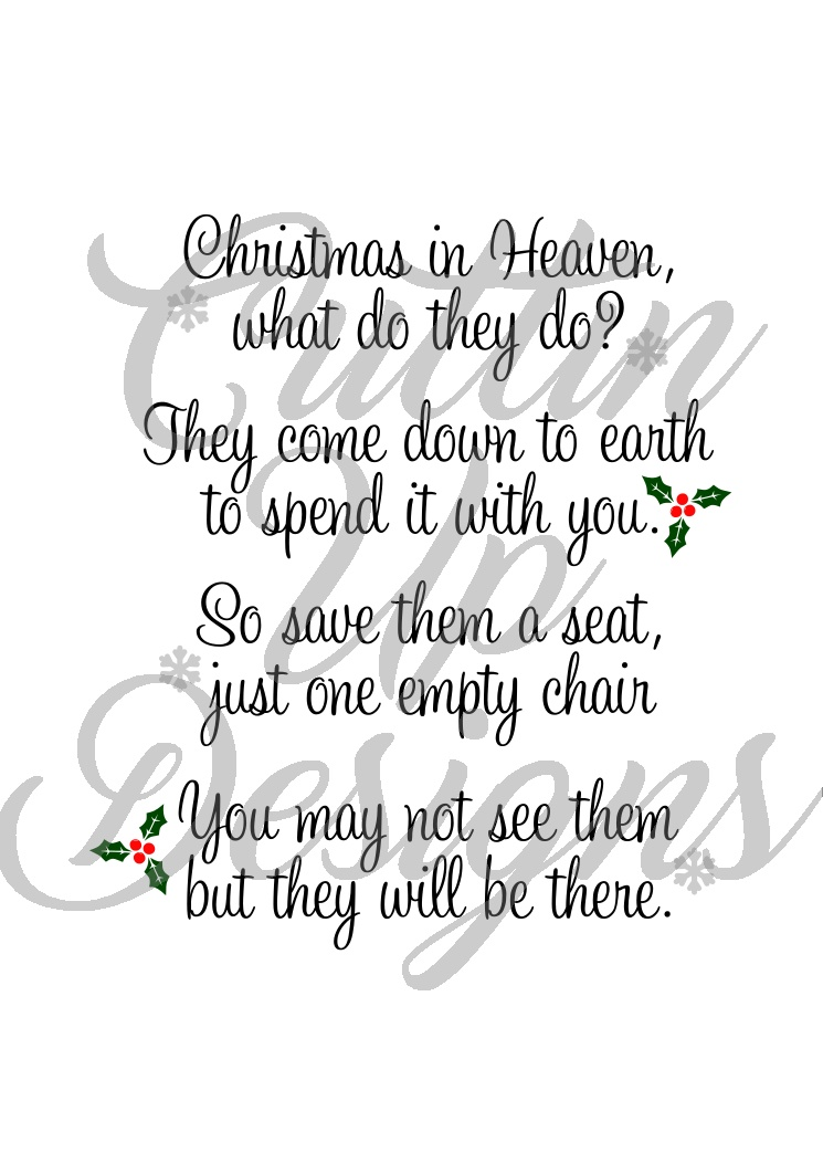 Christmas In Heaven.Christmas In Heaven Save A Seat Svg Cut File For Cricut Or Cameo Easy Cut
