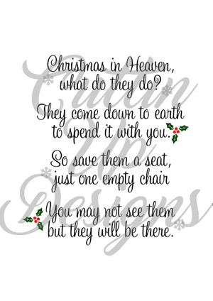 Christmas in heaven Save a seat SVG Cut File for Cricut or Cameo. Easy cut