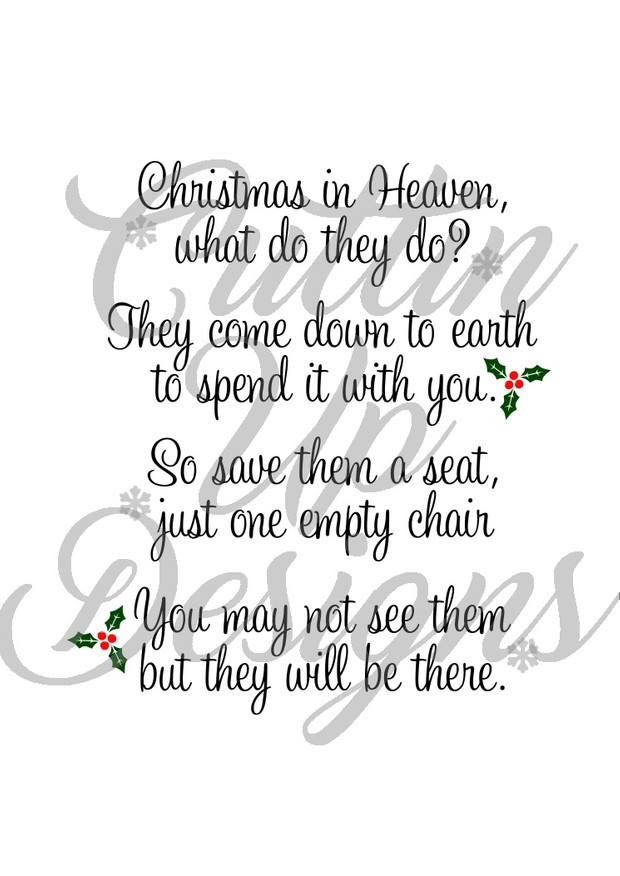 christmas in heaven save a seat svg cut file for cricut or cameo easy cut