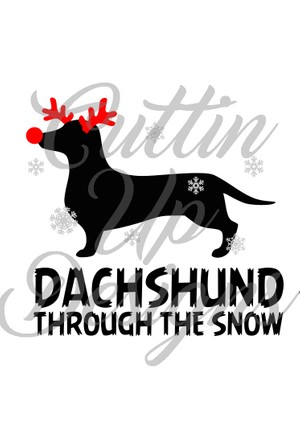 Dachshund through the snow Christmas SVG Cutting File for Cricut or Cameo. Easy cut and layer