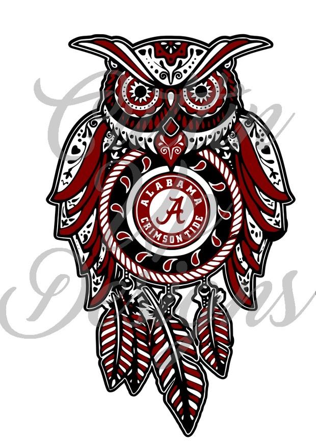Alabama Sugar Skull Dreamcatcher Owl SVG Cut File.  VERY easy cut and layer.
