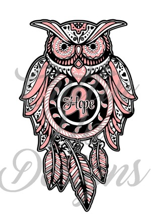 Breast Cancer Awareness Sugar Skull Dreamcatcher Owl SVG Cut File.  VERY easy cut and layer.