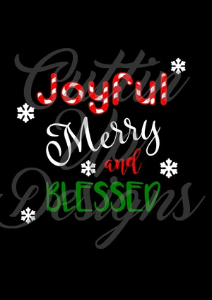 Joyful Merry and Blessed SVG Cutting File for Cricut or Cameo. Great Christmas SVG Cutting File.