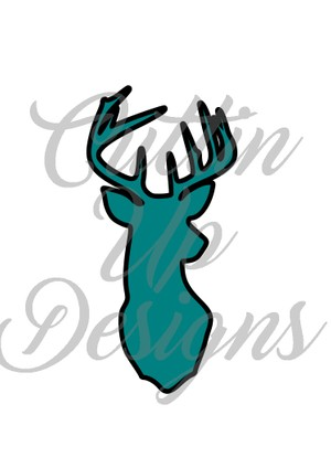 Buck Head Silhouette for Fabric with HTV outline. SVG Cut File.