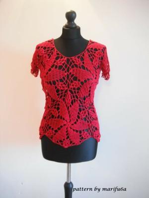 crochet elegant red blouse top pattern pdf by marifu6a