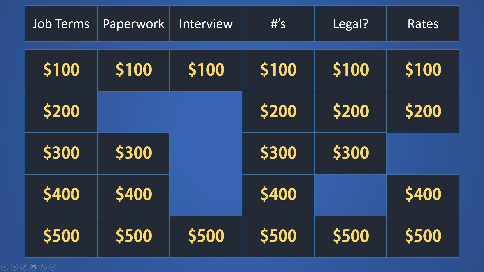 Easy Jeopardy PowerPoint Template (Basic) - Easy Jeopardy
