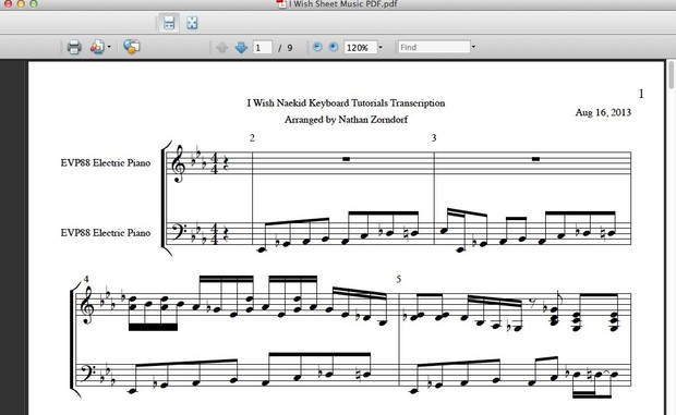 I Wish Style Sheet Music Pdf Transcription