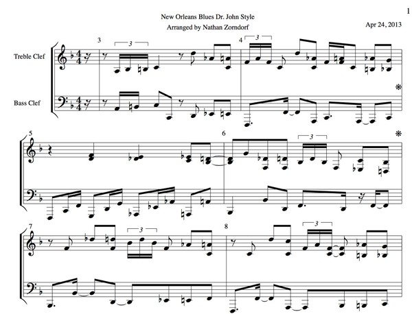 Dr. John - New Orleans Blues Transcription PDF Sheet Music (in F)